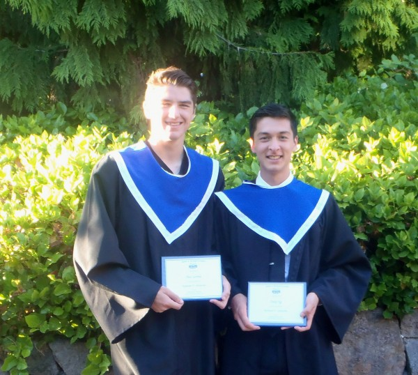 The RYSA is proud to recognize Theo Lorenz (l) and Andy Ng (r) for their academic achievement and contribution to both club and community during their time with Richmond FC.